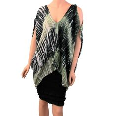 Open Shoulder Tie Die Caftan Cover Up Lounge Wear Shirt Tunic Green White Black #Tunic #Casual