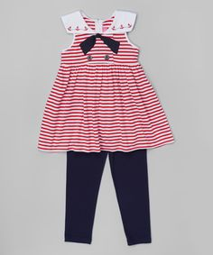 Love this Red Stripe Nautical Tunic & Leggings - Infant, Toddler & Girls by Good Lad on #zulily! #zulilyfinds