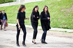 Team french Vogue, Et voilà, Capucine Safyurtlu, Emmanuelle Alt and Claire Dhelens. Black at its BEST!!