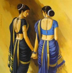 The Marathi Saree Indian Artwork, Indian Art Paintings, Female Portrait, Female Art, Woman Portrait, Rajasthani Painting, Indian Drawing, Indian Women Painting, Composition Painting