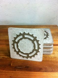 COASTER SET  bike gear and concrete by ReGEARED on Etsy, $28.00