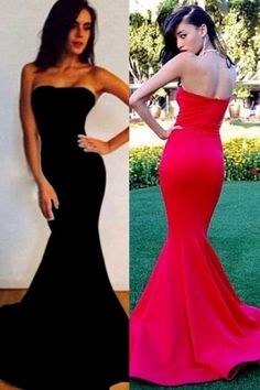 Simple Strapless Prom Dresses, Fitted Mermaid Prom Dresses, Classy Long Prom Dresses in White, Red, Black, and Blue