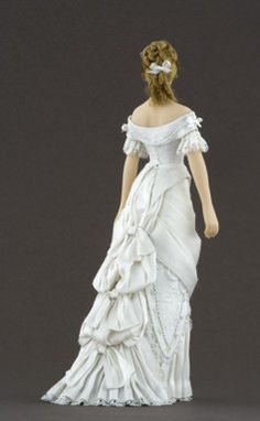 Elise 1877-1879 silk ball gown trimmed in cotton lace, embroidered by hand with silk ribbons.Carabosse Dolls (back view) Click to enlarge