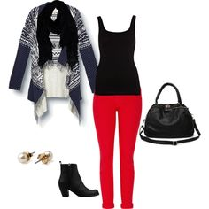 Red pants Red Pants Outfit, Green Jeans, Complete Outfits, 50 Fashion, Age, Shoe Bag, My Style, How To Wear, Closet