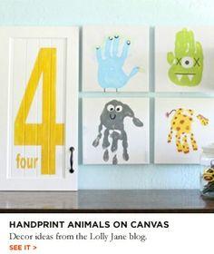 Handprints on canvas