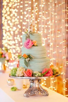 Mint & Peach Rockhaven Wedding | SouthBound Bride - not sure I like all the details but love the mint / peach color combo and lighting effect.
