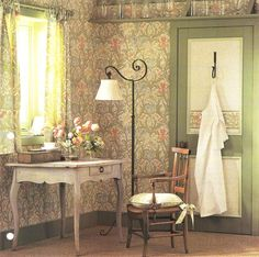 arts and craft wallpaper used on film sets | Wm Morris Arts & Crafts Movement room with Morris wallpaper