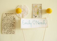Craspedia Wedding Cake Topper Personalized Names by cherrytime, $39.00