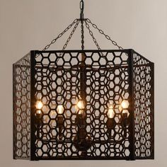 Crafted of die-cut metal in a unique honeycomb design, our sturdy Honeycomb Chandelier affords diffused light in style. Grand in size and beauty, it makes a striking centerpiece in any room. Rustic Bathroom Designs, Rustic Bathrooms, Bathroom Ideas, Pendant Chandelier, Pendant Lighting, Rustic Chandelier, Farmhouse Kitchen Lighting, Diffused Light, World Market