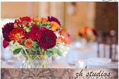 Fall wedding centerpieces at Colonial Williamsburg photographed by www.zhstudios.com  flowers by www.flowercupboard.com