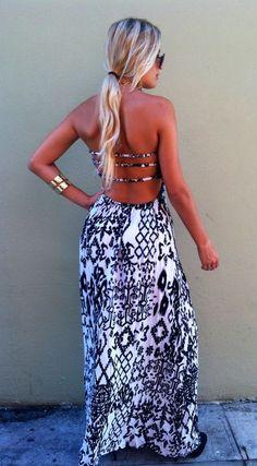 Thin strap back printed maxi dress