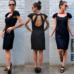 VTG 80s Black Mini Dress Shift Cocktail Glam by BluegrassVoodoo, $38.00