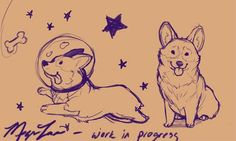 A work-in-progress;Corgis by Megan Lara | via Megan Lara: Art & Illustration