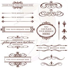 Vintage Wedding Invitation Clip Art CHOCOLATE DARK BROWN Calligraphy Scrapbook Decorations Text Dividers Oval Digital Frame 10373