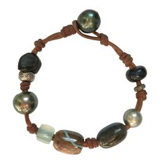 Fine Pearls and Leather Jewelry by Designer Wendy Mignot Gypsy Appalachian Mixed Bracelet