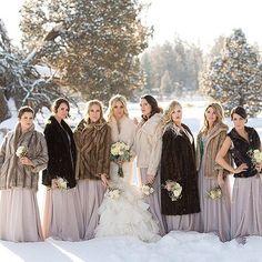 Winter Wedding Fur, Winter Wedding Bridesmaids, Winter Wonderland Wedding, Dream Wedding, Luxury Wedding, Wedding Things, Vintage Bridal, Vintage Fur
