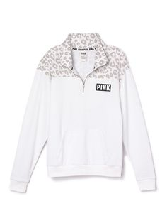 Victorias secret white cheetah boyfriend half zip Nwt online order never worn not selling will trade for an xs PINK Victoria's Secret Tops Sweatshirts & Hoodies Pink Outfits, Pretty Outfits, Casual Outfits, Cute Outfits, Fashion Outfits, Teen Fashion, Victoria Secret Outfits, Victoria Secret Pink, Pink Wardrobe