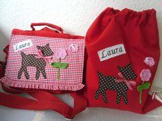 Kindergartentasche + Turnbeutel  mit Namen  von Isalou auf DaWanda.com