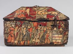 Painted wood box with the Legend of Guilhem of Orange, about 1200–1225. Southern…