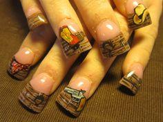 western nails with bandana by Oli123 - Nail Art Gallery nailartgallery.nailsmag.com by Nails Magazine www.nailsmag.com #nailart