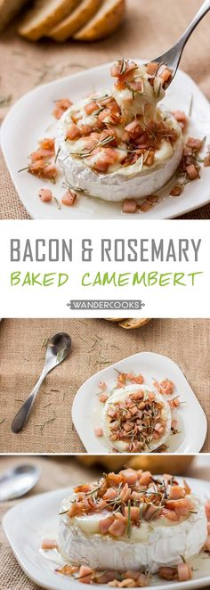 Honey Baked Camembert with Bacon and Rosemary - What a recipe. This dish simply OOZES with a fantastic combination of honey and creamy cheesy camembert goodness. Add some salty bacon, and your friends will be DYING to know this quick and simple recipe. | wandercooks.com via @wandercooks