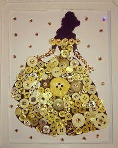 Disney Princess Belle button art framed silhouette with sparkles. Instagram: Karatstar85