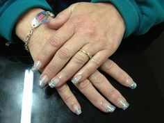 Colored french tips with silver glitter. Colored French Tips, Silver Glitter, Elegant, Nails, Classy, Finger Nails, Silver Sequin, Ongles, Nail