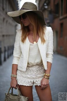 All Cream Outfit. Lace Crochet Shorts.