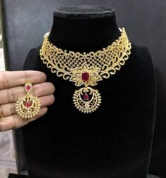 10 Top one gram gold chokers with price. Buy 1 Gram gold chokers necklace with earrings with best price. Lotus Design, Peacock Design, Leaf Design, 1 Gram Gold Jewellery, Gold Jewellery Design, Gold Jewelry, Gold Choker Necklace, Earrings, Neck Choker