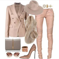 All Blush Everything. Blush Blazer and Soft Pink Leather Moto Pants, Fur Stole, Wide Brim Hat