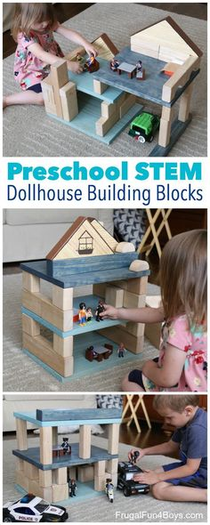 Make Your Own Dollhouse Building Blocks Set - Make a house or fort that can be built different ways! Fun STEM activity for preschoolers.