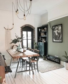 Sage green dining room ideas – # check more at Wohnzimmer. Living Room Green, Green Dining Room, Interior, Feature Wall Living Room, Living Dining Room, Living Room Wall, Green Walls Living Room, Green Kitchen Walls, Sage Green Living Room