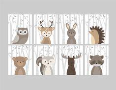 Baby Boy Nursery Art, Woodland Nursery Animals, Baby Room Decor, Forest Animal Prints, Set of 8 Owl Deer Rabbit Bear Squirrel Moose Raccoon Baby Boy Nursery Art Forest Nursery Animals by YassisPlace