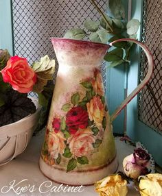 Metal Watering Can Decoupage// Watering Can  Shabby by Kyescabinet