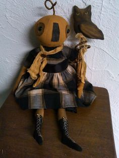 Primitive Folk Art Pumpkin Head Doll and Owl Set - Halloween ~ Fall by primitivewishfuls on Etsy