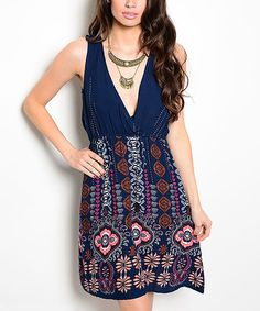 Look at this Navy Arabesque Surplice Dress on #zulily today!