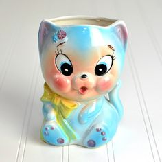 Kitten / Cat Head Vase Planter by E.O. Brody - Model 1469, Made in Japan, Hand Painted Ceramic - Retro Home Decor or Use