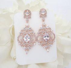 Ohrringe Rose Gold Bridal Rose Gold Ohrringe von TheExquisiteBride