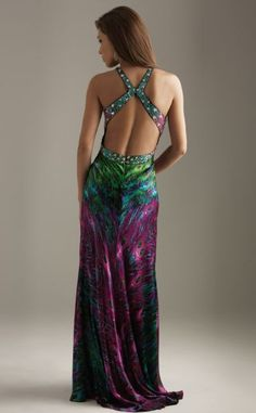 photo 2 of 2 Alternate view of the Night Moves Peacock Print Beaded Evening Dress 6200 image