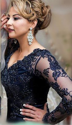 Appliques Sweep-Train Zipper Long-Sleeve Navy Lace Gorgeous Evening