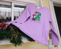 Quacker Factory Snowman Top T Shirt M Lavender Purple NWT #QuackerFactory #KnitTop #Casual