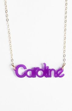 Moon and Lola 'Zebra Block Font' Personalized Nameplate Pendant Necklace available at #Nordstrom