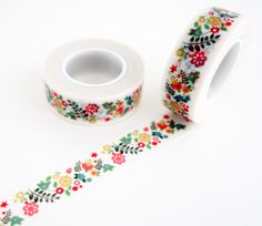 Single roll of washi tape with folktale floral pattern, with little flowers and ladybugs. Great for scrapbooking, gift wrapping, decorating cards and envelopes and more! Add a little dash of cuteness