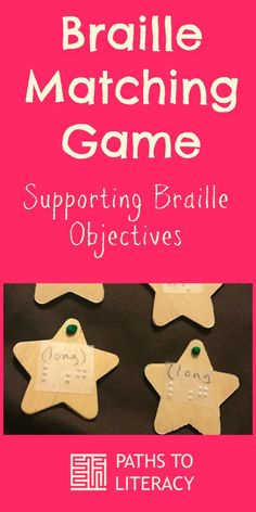This braille matching game supports braille objectives for beginning readers.