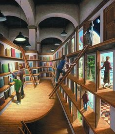 Gonsalves - Written Worlds Magritte, Optical Illusion Paintings, Amazing Optical Illusions, Canadian Painters, Canadian Artists, Robert Gonsalves, Illusion Kunst, Book Art, Magic Realism