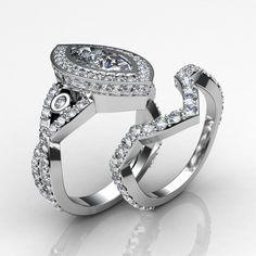 Bridal Set Marquise Diamond Halo Engagement Ring EGL G VS1 14k White Gold 3.8 ct