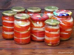 Sałatka z pomidorów na zimę Healthy Cooking, Cooking Recipes, Coleslaw, Preserves, Holiday Recipes, Mason Jars, Grilling, Food And Drink, Winter