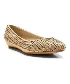 Take a look at this Champagne Too Sleek Ballet Flat by Two Lips on #zulily today!