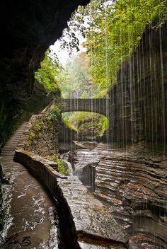 The path behind Rainbow Falls in Watkins Glen State Park, New York, USA