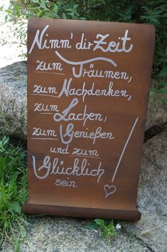 Edelrost Tafel Take your time . Saying Backyard Steel Rust Schi .- Edelrost Tafel Take your time . Saying Backyard Steel Rust Protect Reward Ornament Most Beautiful Gardens, Banners, Garden Quotes, Garden Signs, Deco Furniture, Decoration, Hand Lettering, Chalkboard, Diy And Crafts